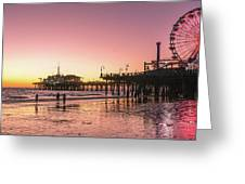 Red Sunset In Santa Monica Greeting Card