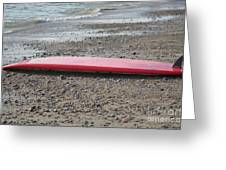 Red Surf Board On A Rocky Beach Greeting Card