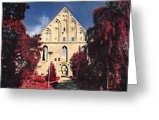 Red Surreal Abbey Ruins Greeting Card