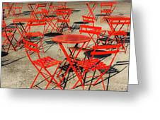 Red Tables And Chairs Greeting Card
