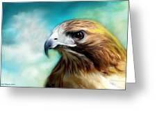 Red Tail Hawk  Greeting Card by Crispin  Delgado