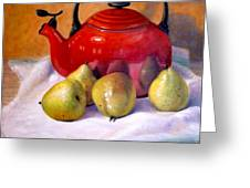 Red Teapot And Pears Greeting Card