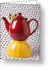 Red Teapot With Butterfly Greeting Card