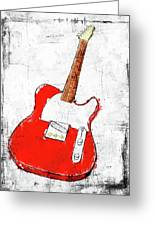 Red Telecaster Fine Art Illustration By Roly O Greeting Card