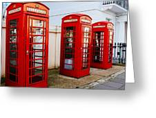 Red Telephone Booths London Greeting Card