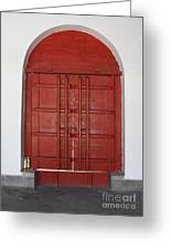 Red Temple Door Greeting Card