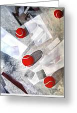 Red Tennis Balls On White Sand Greeting Card