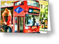 Red Tourist Bus In New York Greeting Card