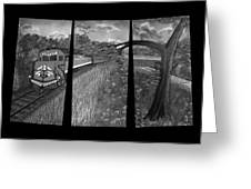 Red Train Passage In Black And White Greeting Card