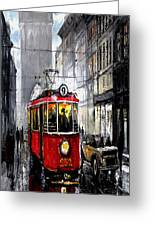 Red Tram Greeting Card by Yuriy  Shevchuk