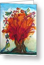 Red Tree And Friends Greeting Card