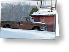 Red Truck In The Snow Greeting Card