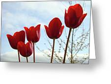 Red Tulip Flowers Spring Artwork Baslee Troutman Greeting Card