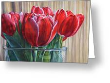 Red Tulips, Glass Rim Greeting Card