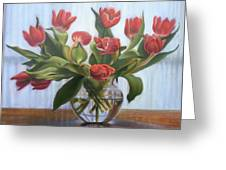 Red Tulips, Glass Vase Greeting Card