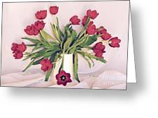 Red Tulips In Full Bloom Greeting Card