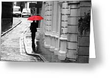 Red Umbrella In London Greeting Card