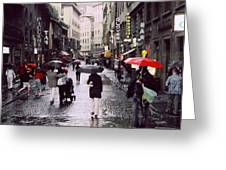 Red Umbrella In The Rain Greeting Card