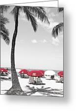 Red Umbrellas On Waikiki Beach Hawaii Greeting Card