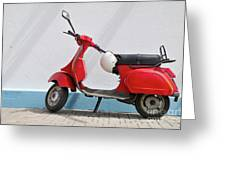 Red Vespa Scooter By Wall Greeting Card