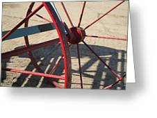 Red Waggon Wheel Greeting Card