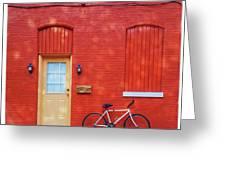 Red Wall White Bike Greeting Card
