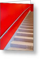 Red Walls Staircase Greeting Card