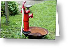 Red Water Pump Greeting Card