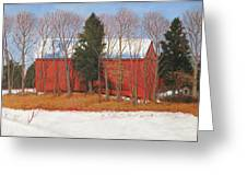 Red White And Blue Barn Greeting Card