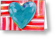 Red White And Blue Love- Art By Linda Woods Greeting Card