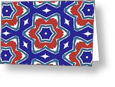 Red White And Blue Star Flowers 1- Pattern Art By Linda Woods Greeting Card