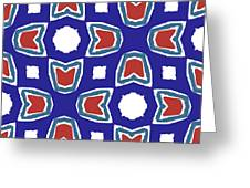 Red White And Blue Tulips Pattern- Art By Linda Woods Greeting Card