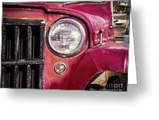 Red Willys Jeep Truck Greeting Card