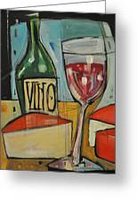 Red Wine And Cheese Greeting Card