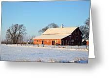 Red Winter Barn Greeting Card