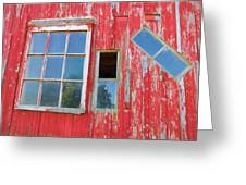 Red Wood And Windows Greeting Card