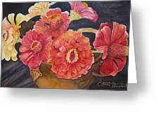 Red Zinnias Greeting Card