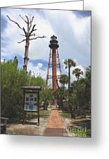 Redbrick Path To The Lighthouse Greeting Card