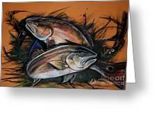 Redfish Frenzy Greeting Card