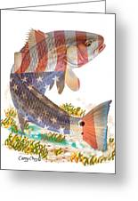 Redfish, White And Blue Greeting Card