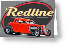 Redline Hot Rod Garage Greeting Card