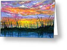 Reedy Sunset Greeting Card