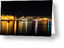 Reflecting On Malta - Cruising Out Of Valletta Grand Harbour Greeting Card