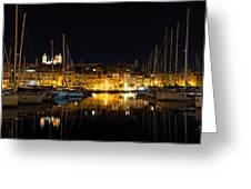 Reflecting On Malta - Senglea Golden Night Magic Greeting Card