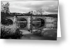 Reflecting Oval Stone Bridge In Blanc And White Greeting Card by Dennis Dame