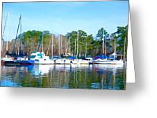 Reflecting The Masts - Watercolor Style Greeting Card