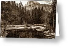 Reflecting Yosemite Half Dome Skies - Sepia Edition Greeting Card by Gregory Ballos