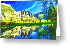 Reflection In Merced River Of Yosemite Waterfalls Greeting Card