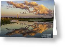 Reflection Of Clouds And Lighthouse Greeting Card