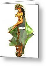 Reflection Of Golden Kali Dancer Greeting Card